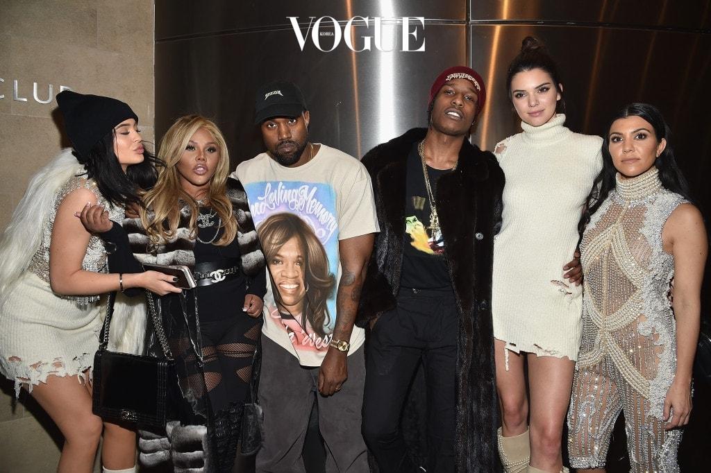 NEW YORK, NY - FEBRUARY 11:  (L-R) Kylie Jenner, Lil' Kim, Kanye West, ASAP Rocky, Kendall Jenner and Kourtney Kardashian attend Kanye West Yeezy Season 3 on February 11, 2016 in New York City.  (Photo by Dimitrios Kambouris/Getty Images for Yeezy Season 3)