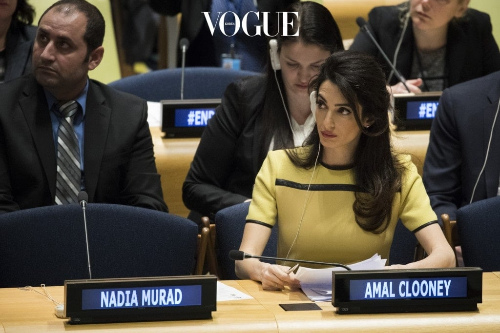 """NEW YORK, NY - MARCH 9: Amal Clooney attends an event titled """"The Fight against Impunity for Atrocities: Bringing Da'esh to Justice"""" at the United Nations headquarters, March 9, 2017 in New York City. (Photo by Drew Angerer/Getty Images)"""