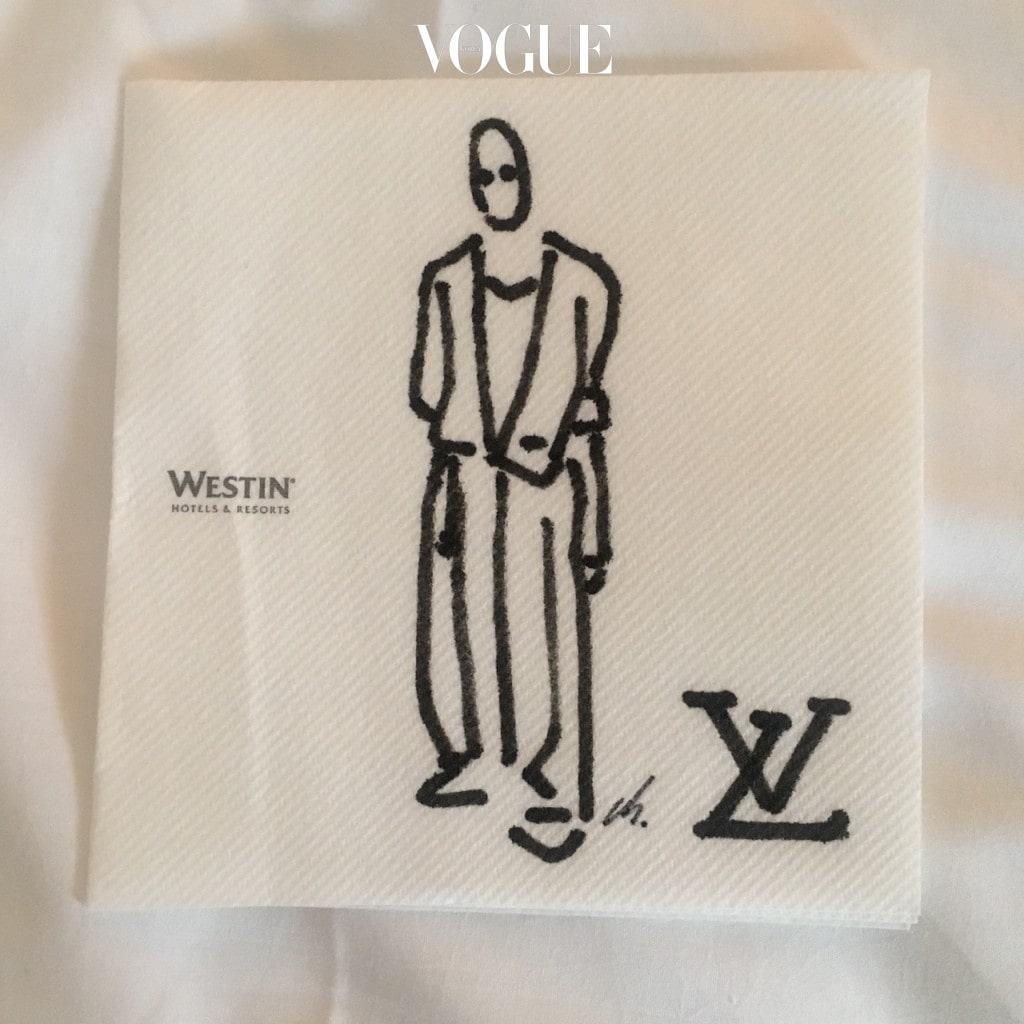 pAris day 3.   'love hotel with louis vuitton(westin_paris)' marker on westin paris paper napkin.