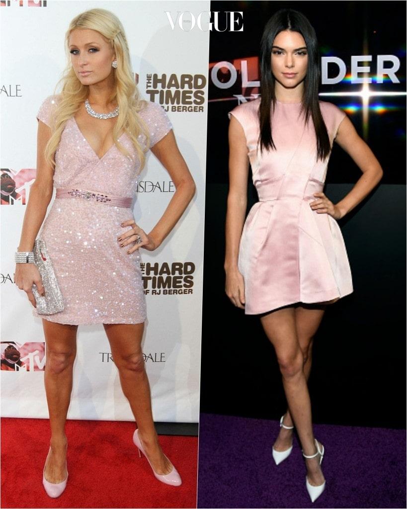 추종자: 켄달 제너 Kendall Jenner 포착: 어깨를 감싸는 파우더리 핑크색 벌룬 미니스커트를 오마주