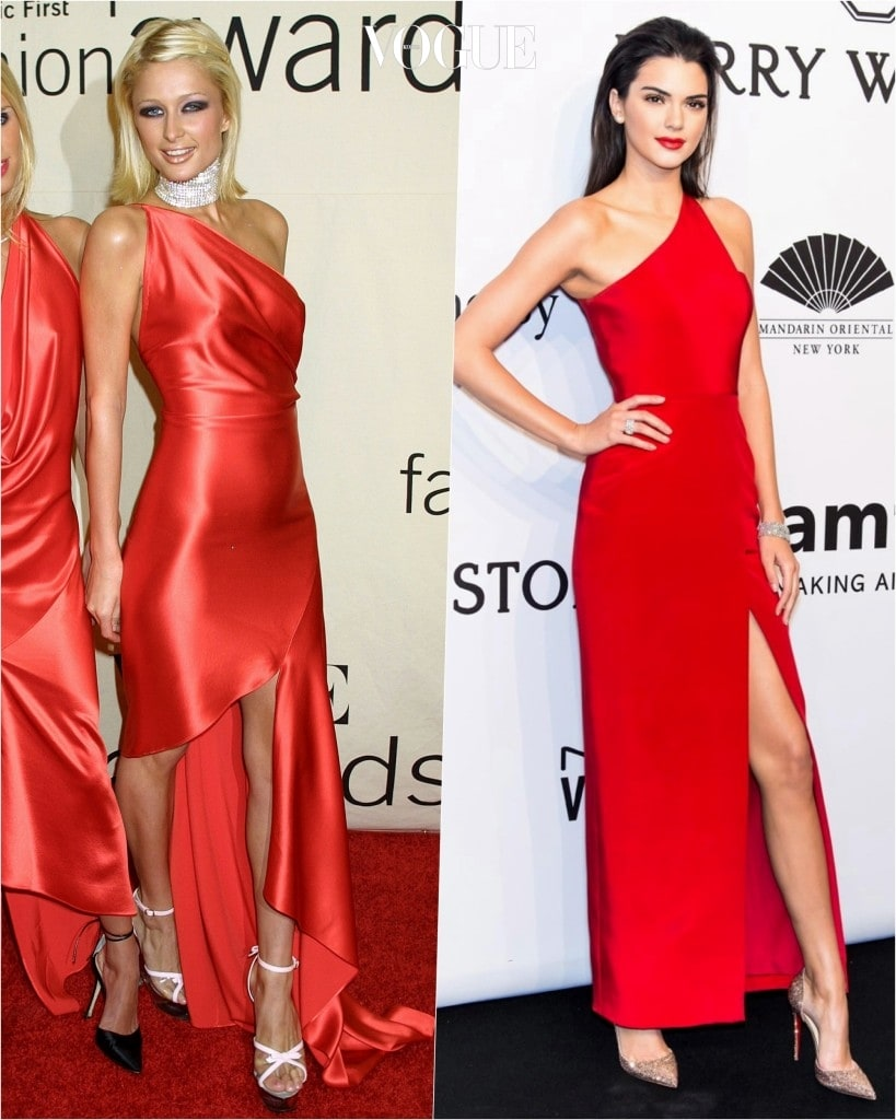 추종자: 켄달 제너 Kendall Jenner 포착: 어깨와 허벅지 한 쪽을 비대칭으로 노출한 새빨간 맥시 드레스