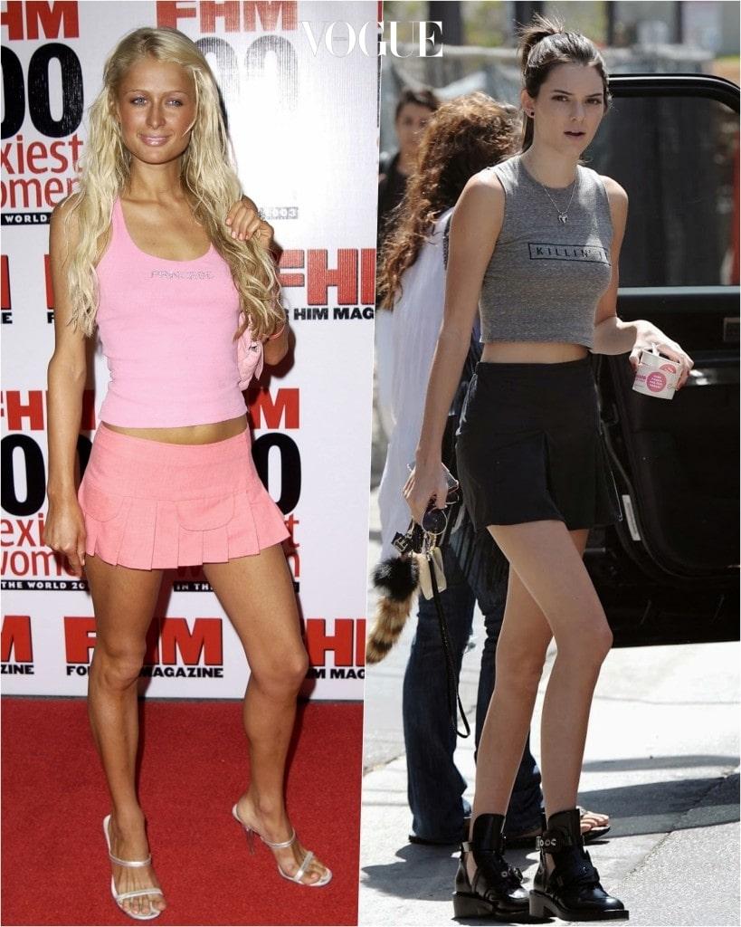 추종자: 켄달 제너 Kendall Jenner 포착: 민소매 티셔츠와 마이크로 플리츠 미니스커트의 매치, 무채색으로 변화를 꾀함