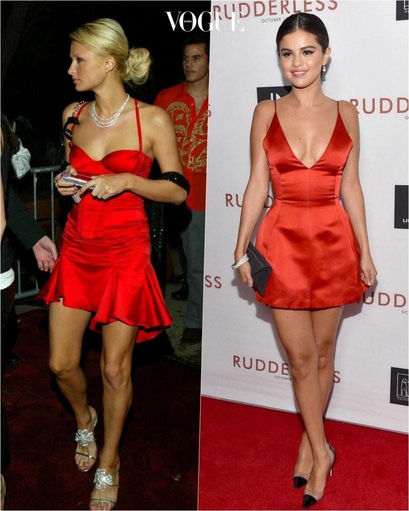 추종자: 셀레나 고메즈 Selena Gomez 포착: 얇은 끈이 섹시한 매력을 더하는 새틴 소재 빨간색 미니 드레스