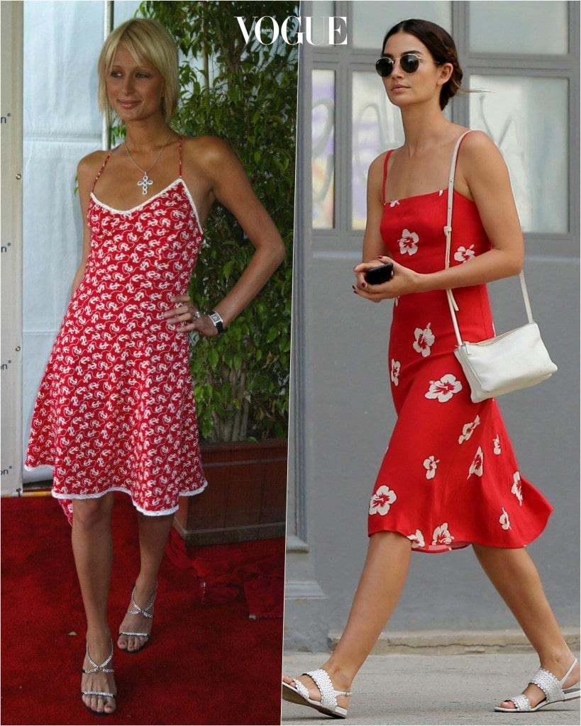 추종자: 릴리 앨드리지 Lily Aldridge 포착: 빨간색 바탕에 하얀색 프린트가 들어간 A라인 끈 원피스로 발랄한 매력 상승