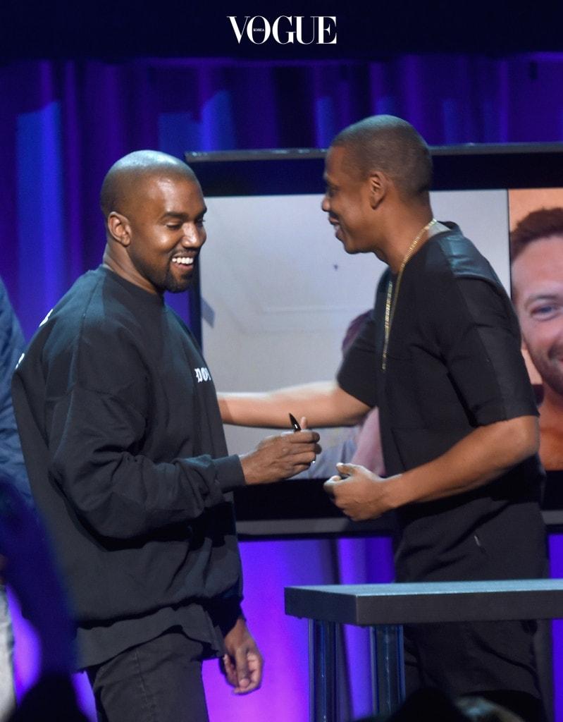NEW YORK, NY - MARCH 30:  Kanye West (L) and JAY Z onstage at the Tidal launch event #TIDALforALL at Skylight at Moynihan Station on March 30, 2015 in New York City.  (Photo by Jamie McCarthy/Getty Images for Roc Nation)