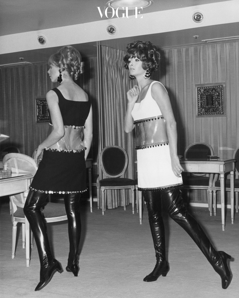 13th December 1967:  From l to r, Irma Karlson and Gail Miller model black and white mini-window dresses in crepe and PVC and wear thigh-length boots. The dresses are designed by Frank Saunders and come from the Rembrandt collection.  (Photo by Fox Photos/Getty Images)