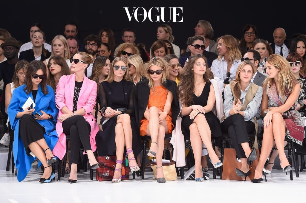 PARIS, FRANCE - SEPTEMBER 26:  (L-R) Miroslava Duma, Lucie de la Falaise, Olivia Palermo, Camille Rowe, Esther Garrel, Gaia Repossi and Alexia Niedzielski attend the Christian Dior show as part of the Paris Fashion Week Womenswear Spring/Summer 2015 on September 26, 2014 in Paris, France.  (Photo by Pascal Le Segretain/Getty Images)