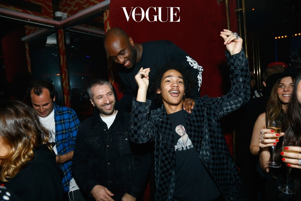 PARIS, FRANCE - MARCH 05: Virgil Abloh and Luka Sabbat attend Chrome Hearts X Bella Hadid Collaboration Launch as part of Paris Fashion Week at Chrome Hearts on March 5, 2017 in Paris, France.  (Photo by Julien M. Hekimian/Getty Images for Chrome Hearts)