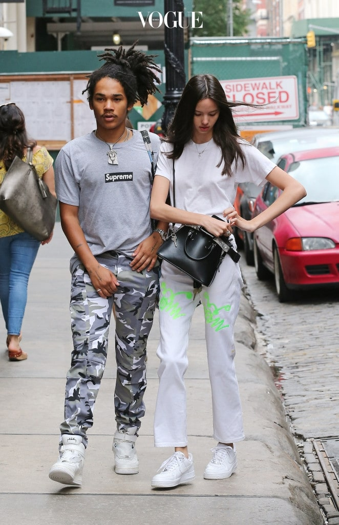 *NO NEW YORK DAILY NEWS / NEWSCOM* EXCLUSIVE: Luka Sabbat, model and designer and Instagram star, grabs his crotch while strolling on Mercer Street in Soho today. Pictured: Luka Sabbat and girlfriend, Adriana Mora (r) Ref: SPL1542666  230717   EXCLUSIVE Picture by: Lawrence Schwartzwald Splash News and Pictures Los Angeles:310-821-2666 New York:212-619-2666 London:870-934-2666 photodesk@splashnews.com
