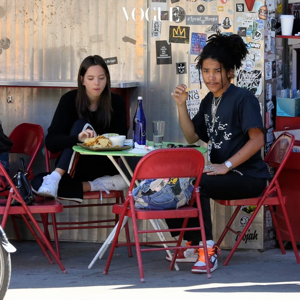 EXCLUSIVE: Model/Stylist Luka Sabbat and girlfriend Adriana Mora eat lunch at La Esquina in Soho in New York City. Pictured: Adriana Mora,Luka Sabbat Ref: SPL1547423  300717   EXCLUSIVE Picture by: Christopher Peterson/Splash News Splash News and Pictures Los Angeles:310-821-2666 New York:212-619-2666 London:870-934-2666 photodesk@splashnews.com