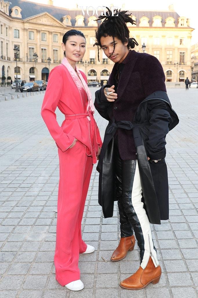 Luka Sabbat ( Dolce & Gabbana campaign face ) seen arriving at Cerruti Fall Winter 2017 Men's show during Paris Fashion Week Pictured: Luka Sabbat Ref: SPL1426436  200117   Picture by: MCvitanovic / Splash News Splash News and Pictures Los Angeles:310-821-2666 New York:212-619-2666 London:870-934-2666 photodesk@splashnews.com