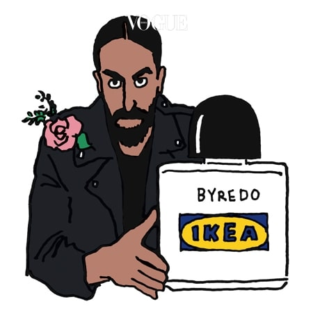 """BYREDO × IKEA  얼마 전 바이레도의 수장 벤 고햄이 거물급 프로젝트를 선포했다. 스웨덴을 대표하는 대중적 가구 브랜드 이케아와 협업이 그것. """"우린 지금 수백 개의 서로 다른 향을 조합하고 있어요. 향에 관한 모든 가능성을 열어놓은 상태에서 작업 중이죠."""" 모두의 예상을 뛰어넘을 이들의 합작은 내후년 이케아 매장에 풀린다."""