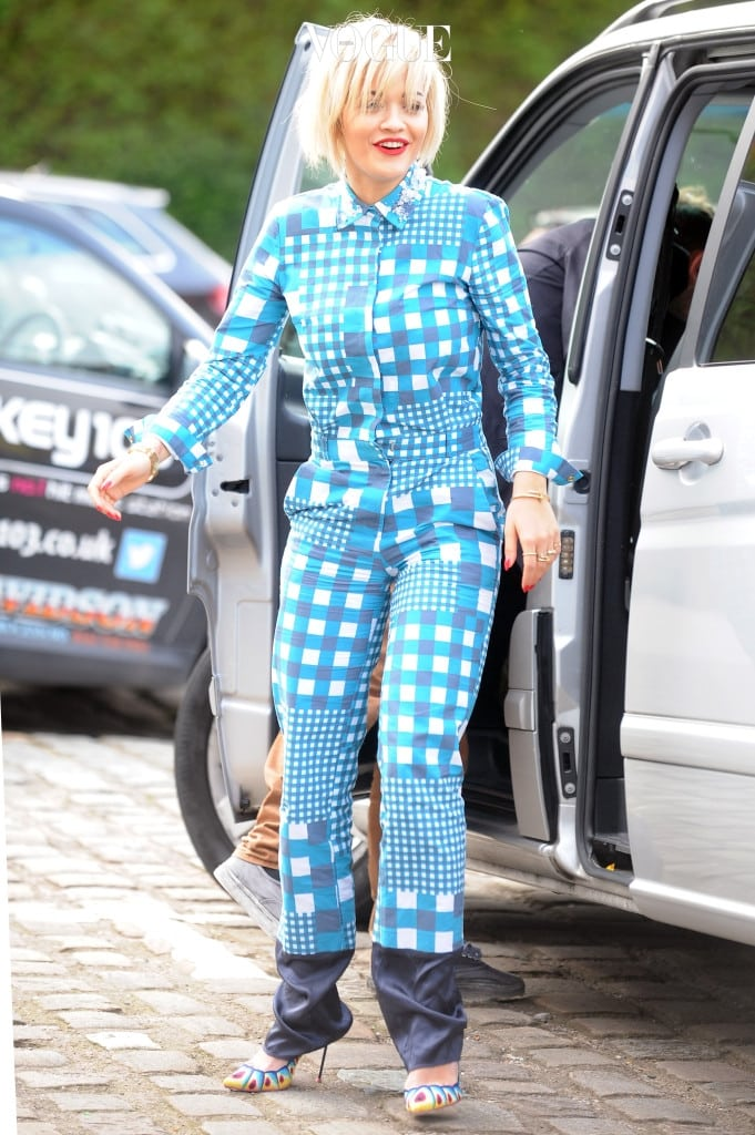 Rita Ora visited a radio station in Manchester in what looked like her pyjamas, she was also showing of her new bob hairdo. Pictured: Rita Ora Ref: SPL731396  090414   Picture by: jonser / Splash News Splash News and Pictures Los Angeles:310-821-2666 New York:212-619-2666 London:870-934-2666 photodesk@splashnews.com