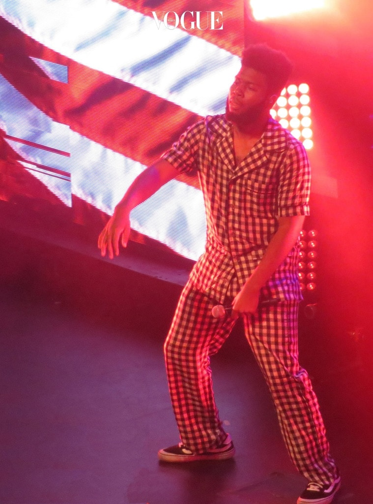R&B Singer Khalid performs live in concert at Rebel night club in Toronto, Canada. Khalid was wearing checkered pyjamas while he performed his hit song 'Location' and the rest of his album 'American Teen' to a sold out crowd in Toronto, Canada. However, after performing a few songs Khalid ripped his pants and changed his clothes.  Pictured: Khalid Ref: SPL1548189  090817   Picture by: Splash News Splash News and Pictures Los Angeles:310-821-2666 New York:212-619-2666 London:870-934-2666 photodesk@splashnews.com