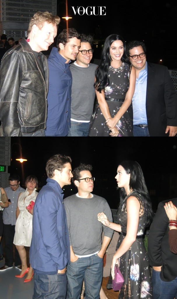 Celebrities at Coach Party, held at Bar Robot. Pictured: Conan O'Brien,  Orlando Bloom, J.J. Abrams, Katy Perry and Josh Gad Ref: SPL515424  100413   Picture by: CelebrityVibe / Splash News Splash News and Pictures Los Angeles:310-821-2666 New York:212-619-2666 London:870-934-2666 photodesk@splashnews.com