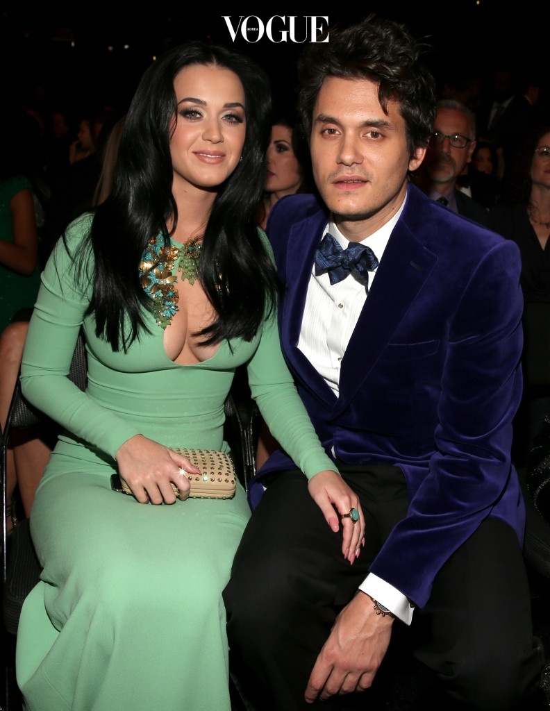LOS ANGELES, CA - FEBRUARY 10:  Singers Katy Perry (L) and John Mayer attend the 55th Annual GRAMMY Awards at STAPLES Center on February 10, 2013 in Los Angeles, California.  (Photo by Christopher Polk/Getty Images for NARAS)