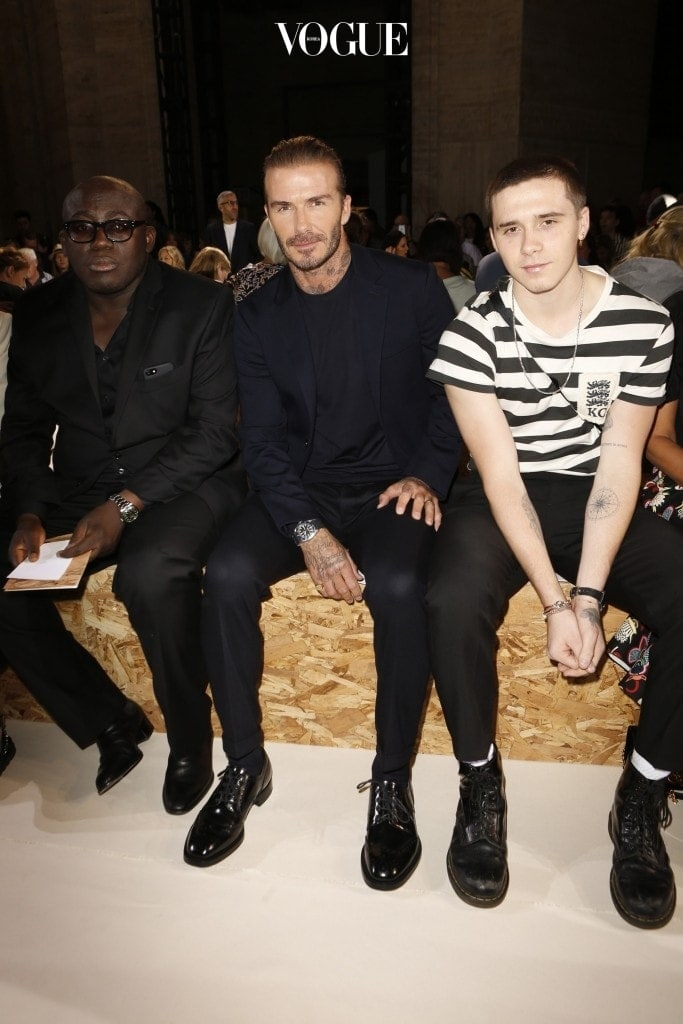 Models on the runway at the Victoria Beckham Spring 2018 Ready-to-Wear fashion show during New York Fashion Week in New York City, New York, USA.  Pictured: David Beckham and Brooklyn Beckham Ref: SPL1574150  100917   Picture by: Newspictures / Splash News Splash News and Pictures Los Angeles:310-821-2666 New York: 212-619-2666 London:870-934-2666 photodesk@splashnews.com