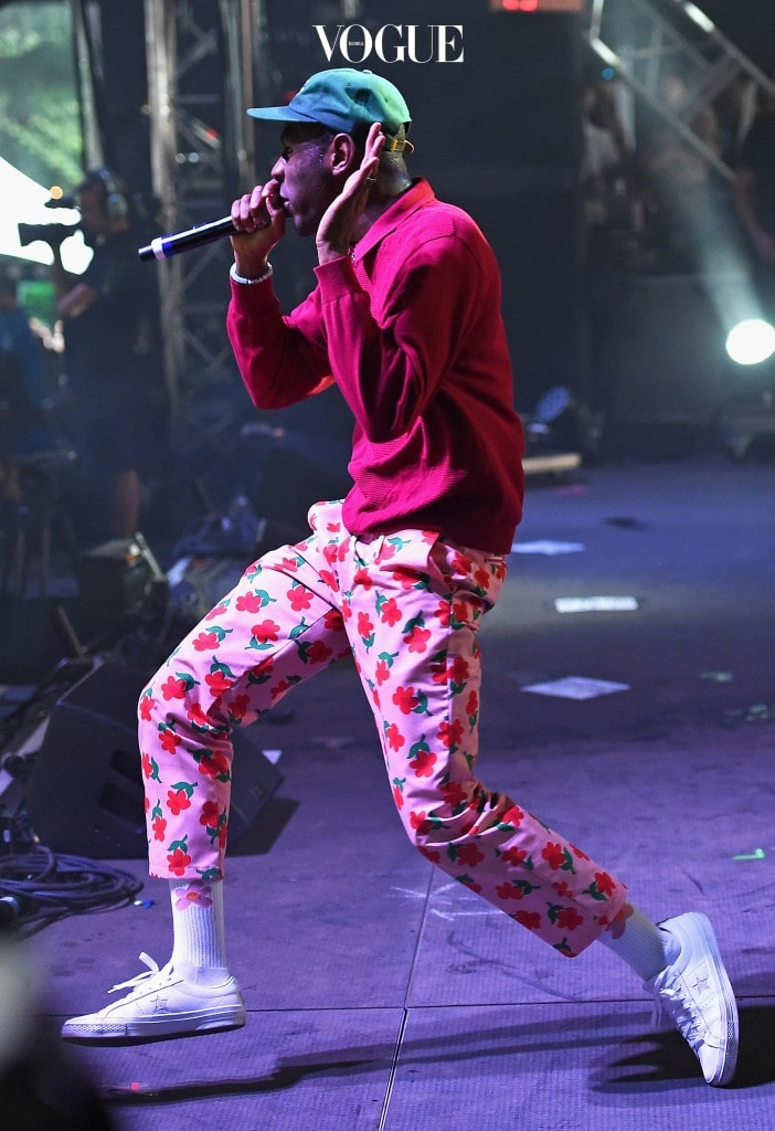 NEW YORK, NY - JULY 28:  Tyler, The Creator performs on the Pavilion stage during the 2017 Panorama Music Festival at Randall's Island on July 28, 2017 in New York City.  (Photo by Nicholas Hunt/Getty Images for Panorama)