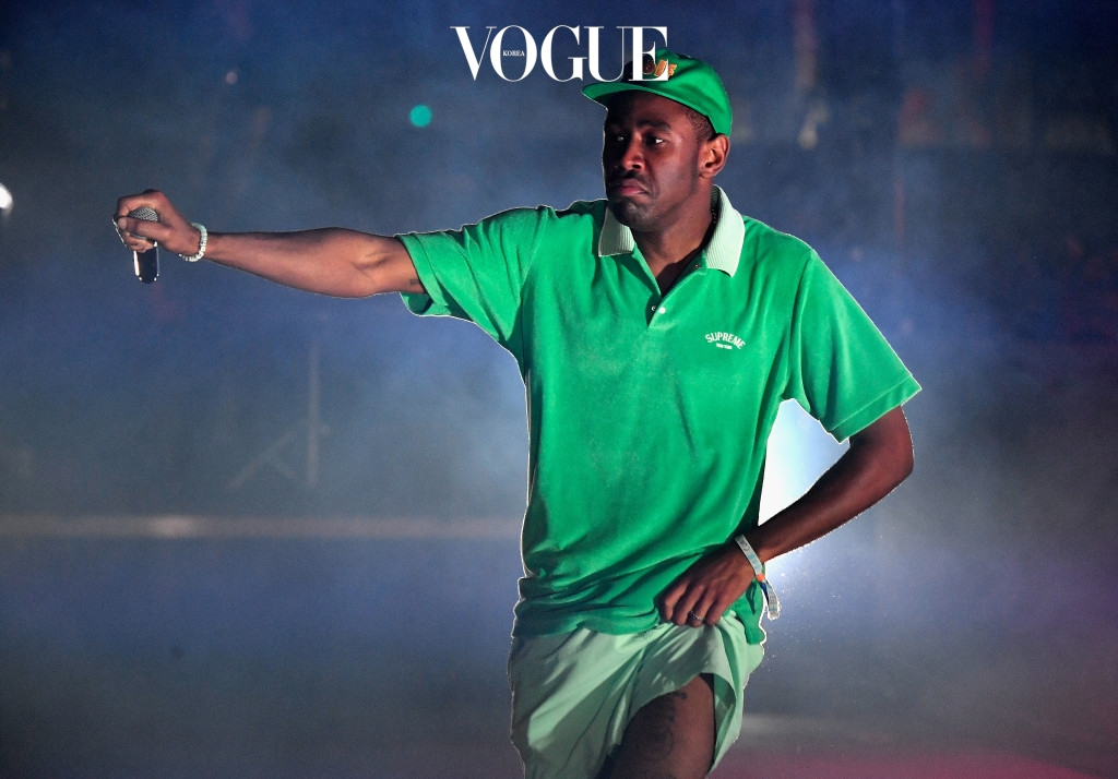INDIO, CA - APRIL 15:  Tyler the Creator performs at the Outdoor Stage during day 2 of the Coachella Valley Music And Arts Festival (Weekend 1) at the Empire Polo Club on April 15, 2017 in Indio, California.  (Photo by Frazer Harrison/Getty Images for Coachella)