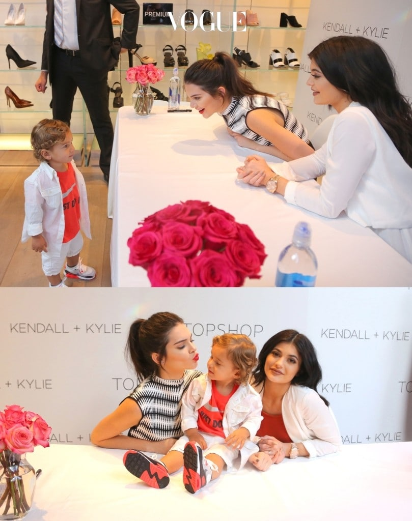 Kendall and Kylie Jenner meet @imbabyjj Joseph Jr at Topshop clothing launch in LA. The girls had fun meeting with the instagram baby sensation with 15k following at 19 months old. Haliey Baldwin also made a visit to the girls as they launched their collection together. Kendall gave a kiss face to baby JJ as he smiled sitting next to the girls Pictured: Kendall Jenner, Kylie Jenner, @imbabyJJ Joseph Jr. Ref: SPL1051583  120615   Picture by: Brian Prahl / Splash News Splash News and Pictures Los Angeles:310-821-2666 New York:212-619-2666 London:870-934-2666 photodesk@splashnews.com