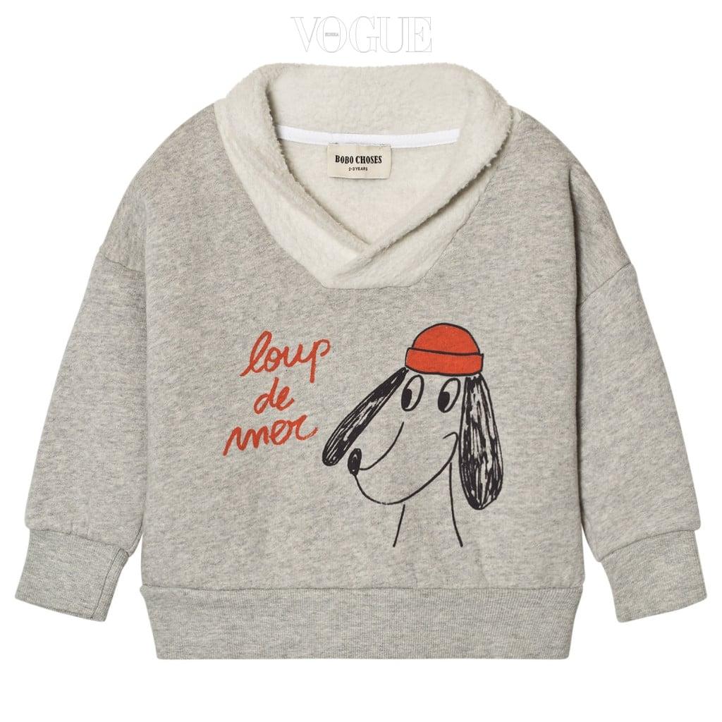 1. 안감에 뽀송거리는 소재가 추가된 강아지 프린트의 스웨트 셔츠는 보보쇼즈(Bobo Choses).