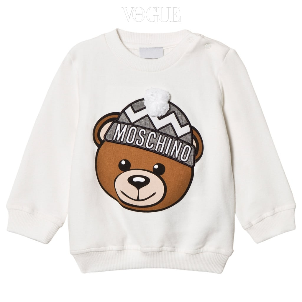 깜찍한 곰돌이가 프린트 된 스웨트 셔츠는 모스키노(Moschino).