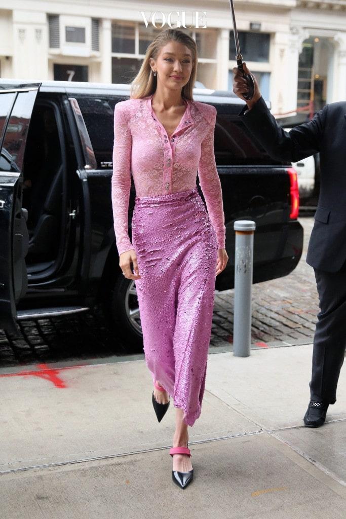 Model Gigi Hadid returns outside her apartment in New York City