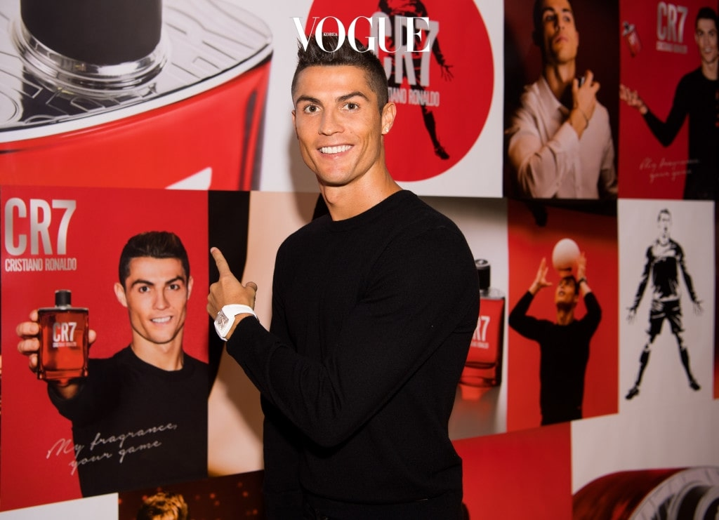MADRID, SPAIN - SEPTEMBER 07:  Crisitiano Ronaldo celebrates the launch of his new fragrance CR7 on September 7, 2017 in Madrid, Spain.  (Photo by David Ramos/Getty Images for CR7)