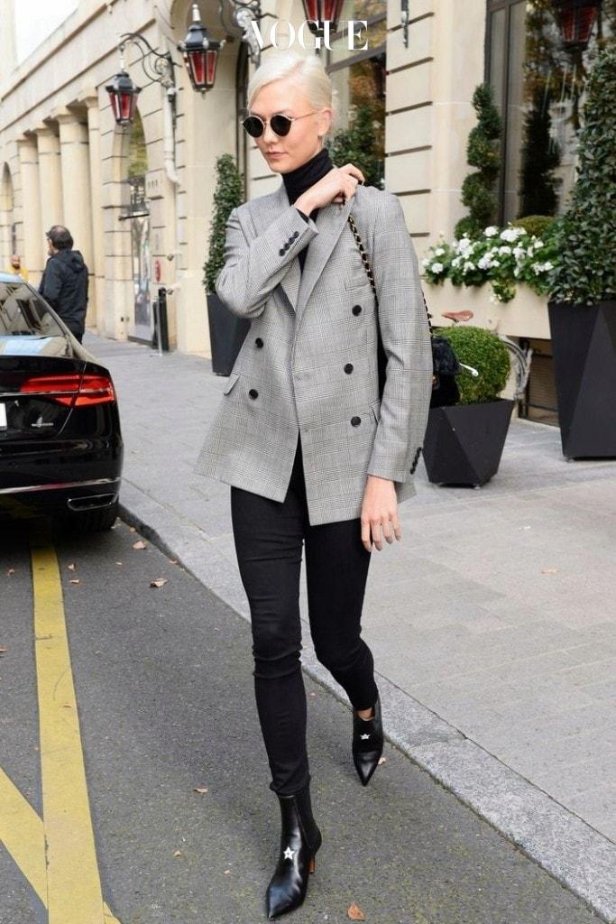 칼리 클로스 Karlie Kloss 자라(Zara) 체크 블레이저 $149