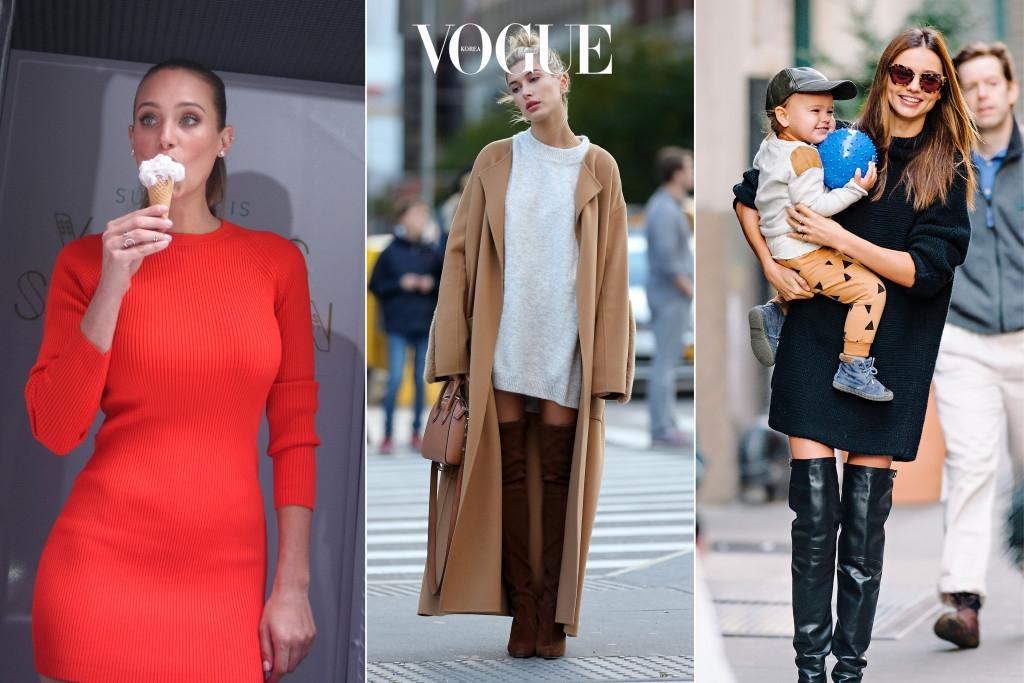 한나 데이비스는 강렬한 빨간색의   미니 드레스를, 헤일리 볼드윈과 미란다 커는 싸이하이 부츠와 베이직한 니트 원피스를 매치했네요