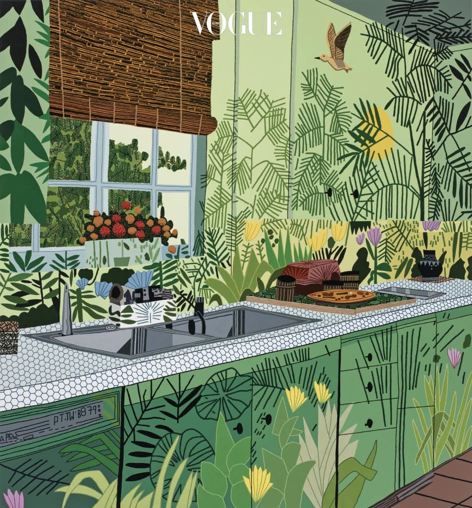 Jungle Kitchen, 2017, Oil and acrylic on canvas, 100×93inches. Photo by Brian Forrest Courtesy of the Artist and David Kordansky Gallery, Los Angeles, CA
