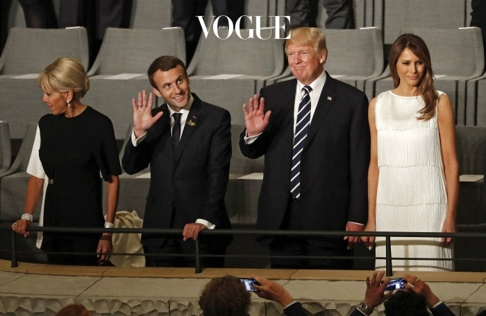 HAMBURG, GERMANY - JULY 07:  US President Donald Trump (2-R), his wife Melania Trump (R), French President Emmanuel Macron (2-L) and his wife Brigitte Macron (L) attend a concert at the Elbphilharmonie philharmonic concert hall on the first day of the G20 economic summit on July 7, 2017 in Hamburg, Germany. The G20 group of nations are meeting July 7-8 and major topics will include climate change and migration.  (Photo by Felipe Trueba - Pool / Getty Images)