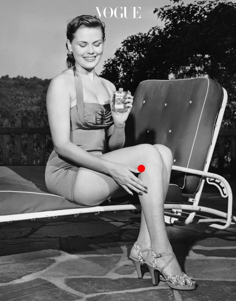 UNITED STATES - CIRCA 1950s: Woman on lawn chair applying oil to her legs. (Photo by George Marks/Retrofile/Getty Images)
