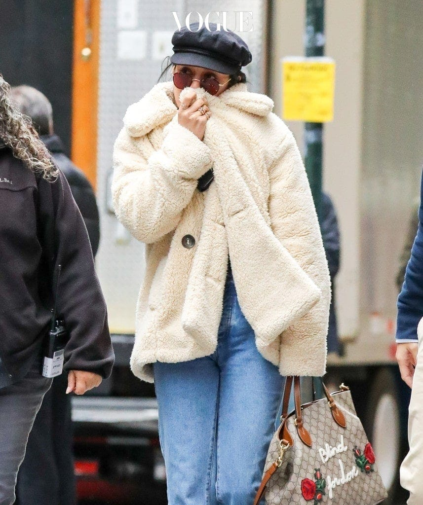 Vanessa Hudgens braves the cold weather in New York City while arriving at the set of Second Act. Pictured: Vanessa Hudgens Ref: SPL1623829  091117   Picture by: Felipe Ramales / Splash News Splash News and Pictures Los Angeles:310-821-2666 New York:212-619-2666 London:870-934-2666 photodesk@splashnews.com
