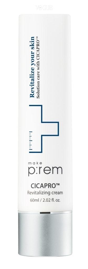 메이크프렘 시카프로TM 리바이탈라이징 크림.  센텔라아시아티카와 발효 유산균을 결합한 시카프로TM 성분이 들어 있어 피부 장벽 강화에 도움을 주고 진정 효과를 준다. 가격 3만2천원.