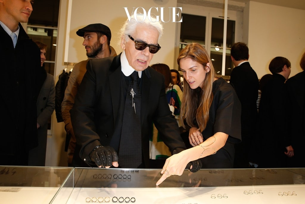 PARIS, FRANCE - MARCH 05:  Karl Lagerfeld attends the Repossi for Colette Coktail Party at Colette on March 5, 2015 in Paris, France.  (Photo by Pierre Suu/Getty Images For Repossi)