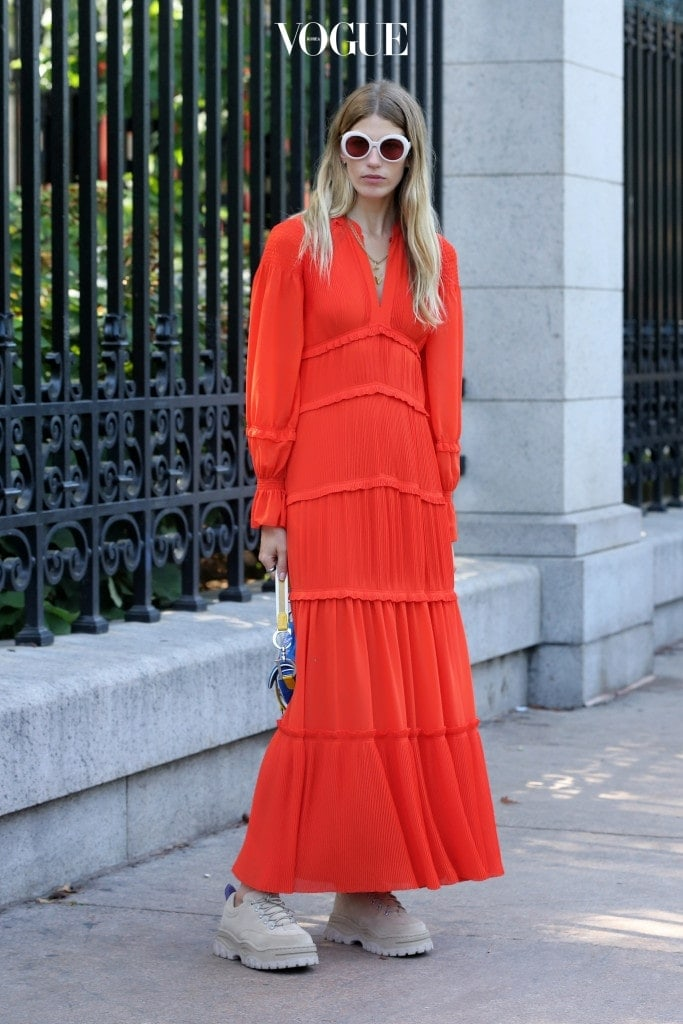 Stylist Veronika Heilbrunner, wearing a red Maxi dress and Dior purse, is seen outside the Tory Burch show during New York Fashion Week: Women's S/S 2018 on September 9, 2017 in New York City. Pictured: Veronika Heilbrunner Ref: SPL1573106  080917   Picture by: Christopher Peterson/Splash News Splash News and Pictures Los Angeles:310-821-2666 New York:212-619-2666 London:870-934-2666 photodesk@splashnews.com