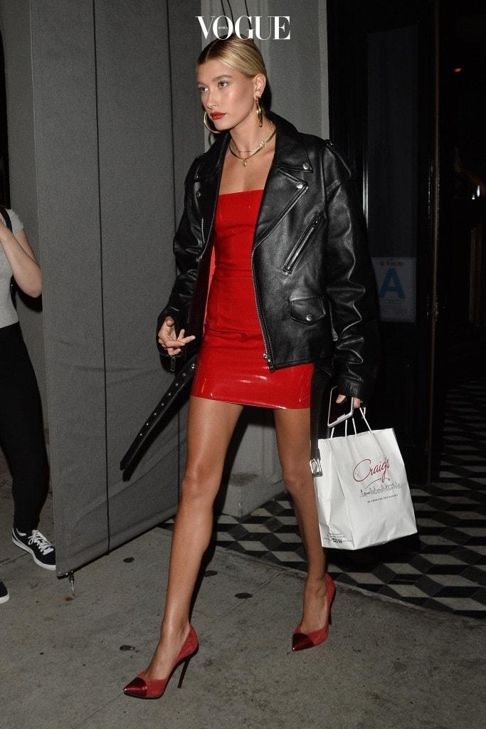Hailey Baldwin Wears a Red Dress Leaving Craigs Pictured: Hailey Baldwin Ref: SPL1545883  260717   Picture by: All Access Photo / Splash News Splash News and Pictures Los Angeles:310-821-2666 New York:212-619-2666 London:870-934-2666 photodesk@splashnews.com
