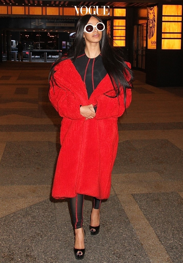 'Love and Hip Hop: New York' star Cardi B spotted arriving a MTV Studios in New York City for an appearance on VFILES wearing a red fur coat and a black and red bodysuit  Pictured: Cardi B Ref: SPL1439096  100217   Picture by: Fortunata/Splash News  Splash News and Pictures Los Angeles:310-821-2666 New York:212-619-2666 London:870-934-2666 photodesk@splashnews.com