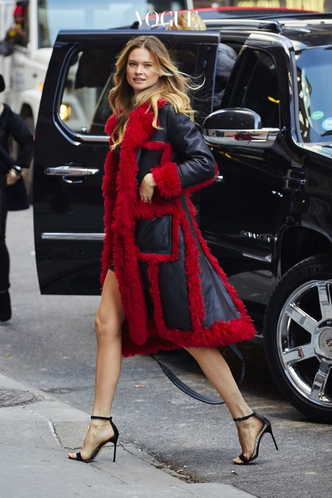 Behati Prinsloo spotted wearing a red statement coat while arriving at the 'Stephen Colbert' show in NYC Pictured: Behati Prinsloo Ref: SPL1191321  071215   Picture by: J. Webber / Splash News Splash News and Pictures Los Angeles:310-821-2666 New York:212-619-2666 London:870-934-2666 photodesk@splashnews.com
