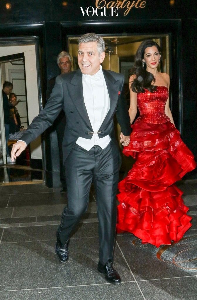 First impressions as celebrity guests leave their hotels to make their way to the 2015 Met Gala on May 4, 2015 New York City. Pictured: George Clooney and Amal Clooney Ref: SPL1016846  040515   Picture by: PAPJUICE.COM /  Splash News Splash News and Pictures Los Angeles:310-821-2666 New York:212-619-2666 London:870-934-2666 photodesk@splashnews.com