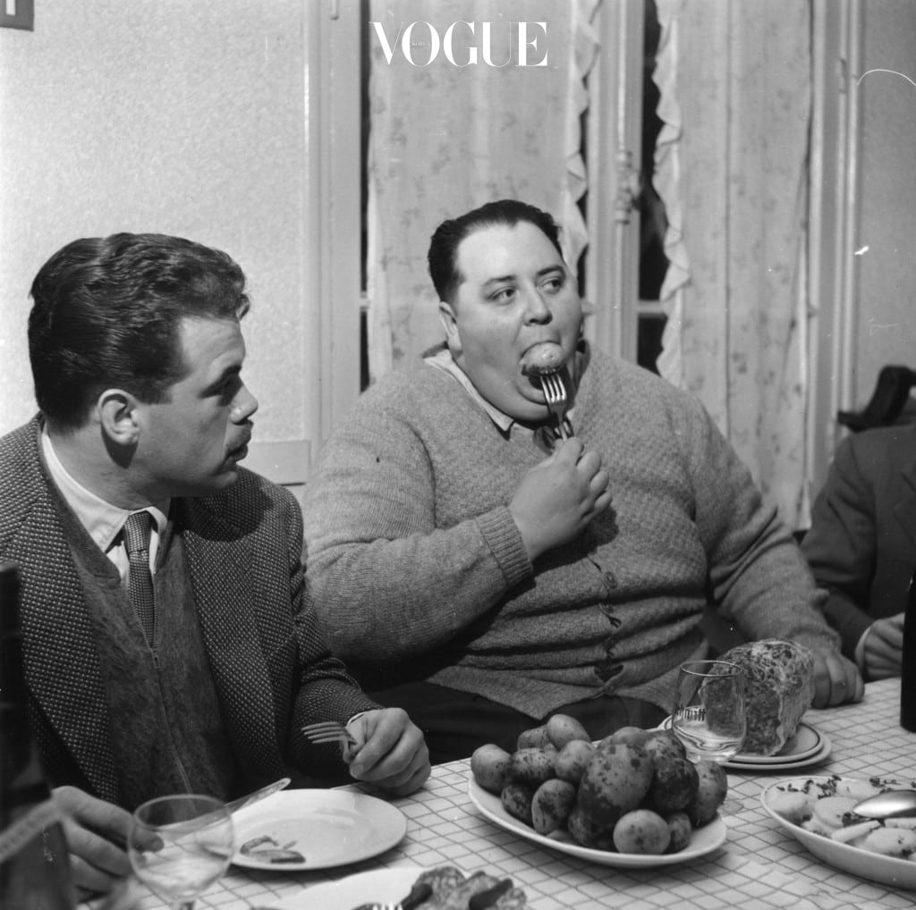 9th May 1956:  Jean Jumel, a member of the Cent Kilo club for overweight men, which aims to increase public tolerance of obesity. He weighs 160 kilos and his waist measures 64 inches.  (Photo by BIPS/Getty Images)