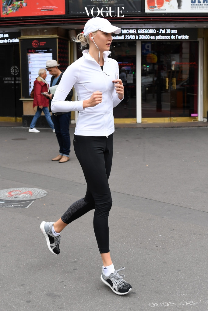 Karlie Kloss spotted jogging out in Paris