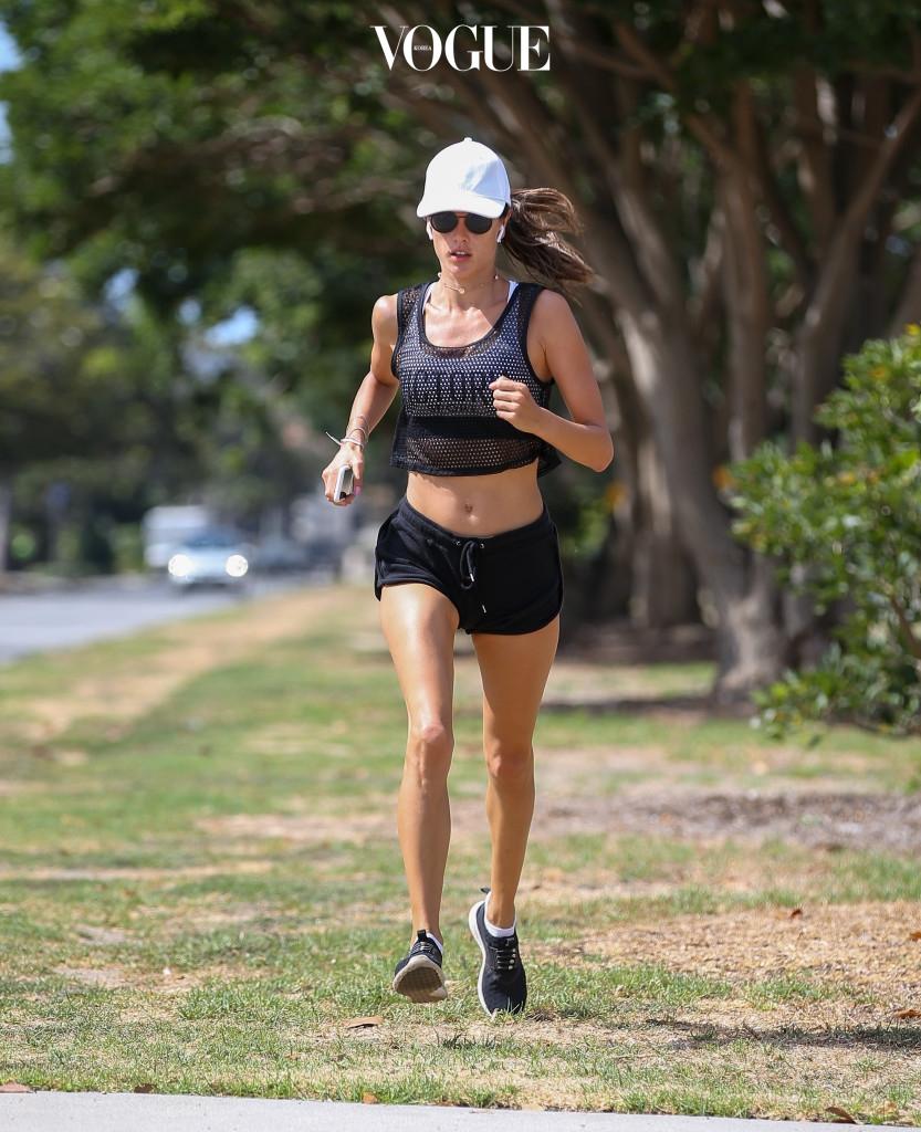 Alessandra Ambrosio spotted jogging in Santa Monica