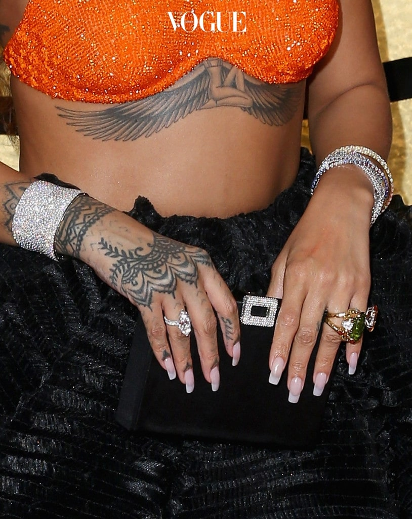 LOS ANGELES, CA - FEBRUARY 12: Singer Rihanna, jewelry detail, at The 59th Annual GRAMMY Awards at STAPLES Center on February 12, 2017 in Los Angeles, California. (Photo by Joe Scarnici/Getty Images for FIJI Water)