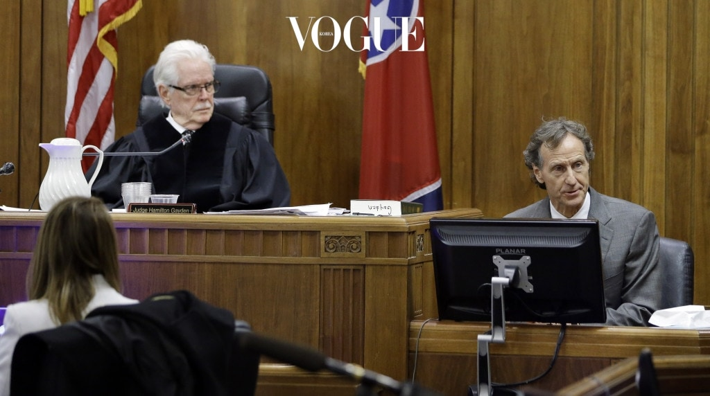 NASHVILLE, TN - MARCH 2:  Stephen Barth, right, a professor at the Conrad N. Hilton College of Hotel and Restaurant Management at the University of Houston, testifies during the trial involving sportscaster and television host Erin Andrews on March 2, 2016 in Nashville, Tennessee.  Erin Andrews is suing her stalker and the owner and operator of the Marriott at Vanderbilt for $75 million after a nude video was taken of her while at the hotel chain. (Photo by Mark Humphrey-Pool/Getty Images)