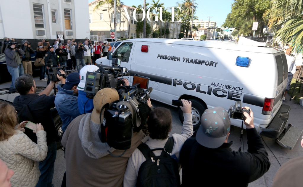 MIAMI BEACH, FL - JANUARY 23:  A Miami Beach Police van carrying Justin Bieber leaves the Miami Beach Police station taking him to jail on January 23, 2014 in Miami Beach, Florida. Justin Bieber was charged with drunken driving, resisting arrest and driving without a valid license after Miami Beach Police found the pop star street racing on Thursday morning.  (Photo by Joe Raedle/Getty Images)