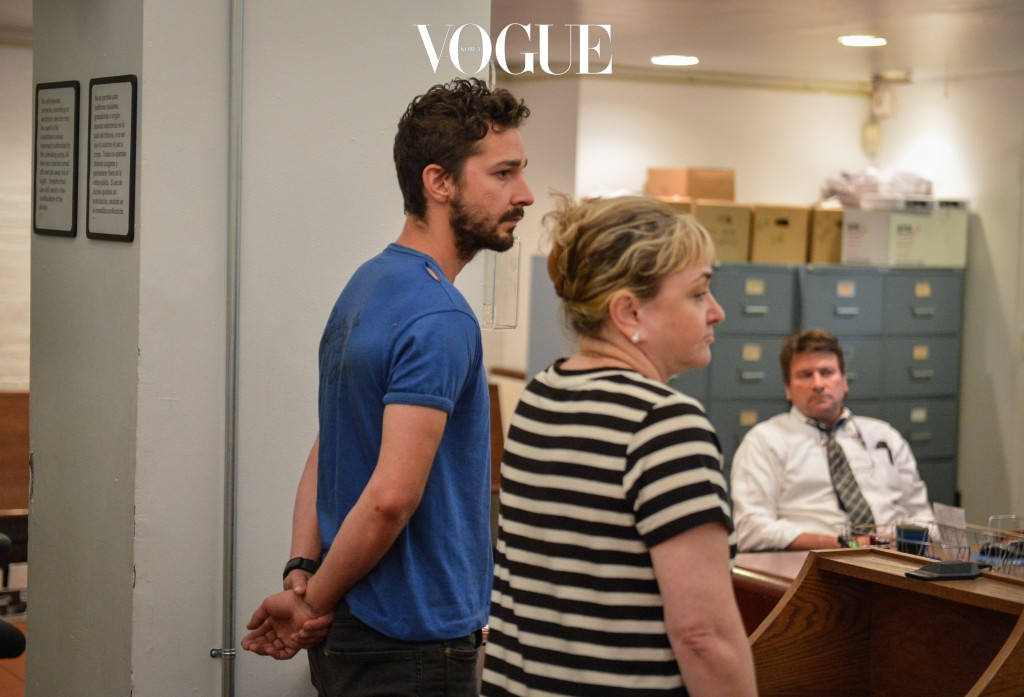 """NEW YORK, NY - JUNE 27:  Shia LaBeouf (L), is arraigned in Midtown Community Court, on June 27, 2014 in New York City. The actor is charged with harrassment, disorderly conduct and criminal trespass following an incident during the show' """"Cabaret"""" Thursday night. (Anthony DelMundo-Pool/Getty Images)"""