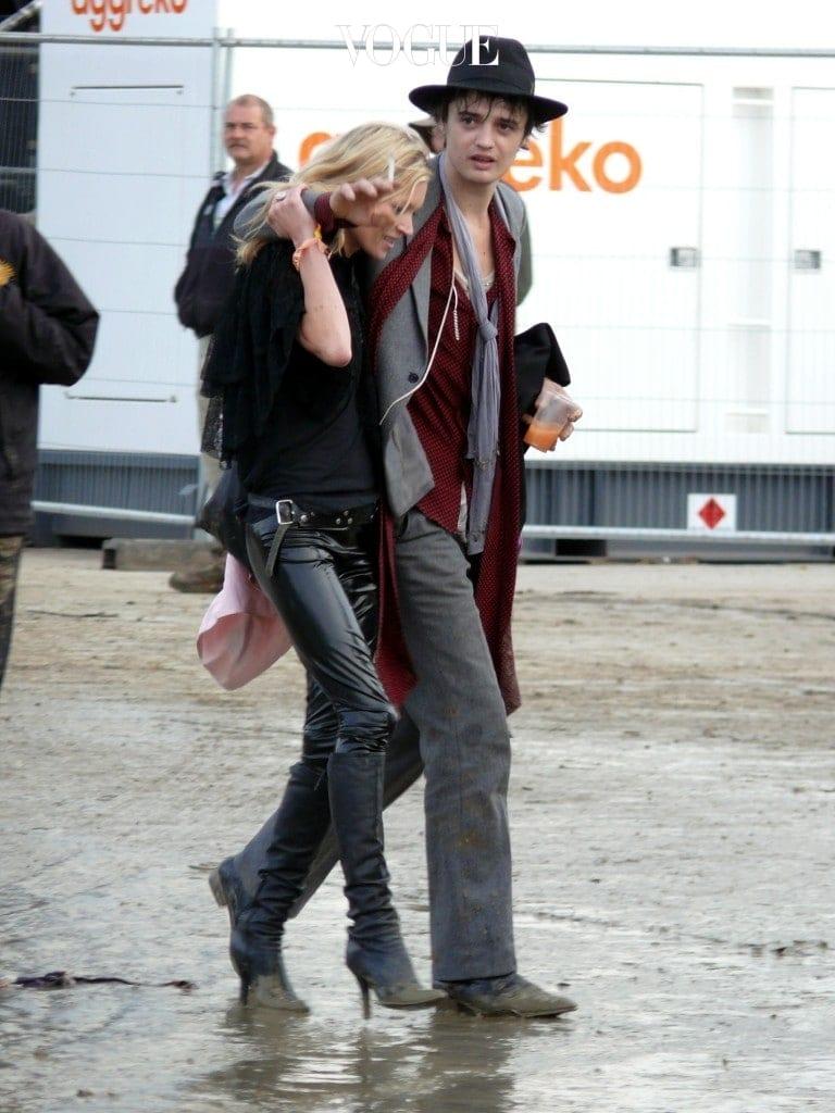 Kate Moss and Sadie Frost watch Pete Doherty and Babyshambles at the Glastonbury Festival. Pictured: Kate Moss and Pete Doherty Ref: SPL837782  220607   Picture by: Deano / Splash News Splash News and Pictures Los Angeles:310-821-2666 New York:212-619-2666 London:870-934-2666 photodesk@splashnews.com