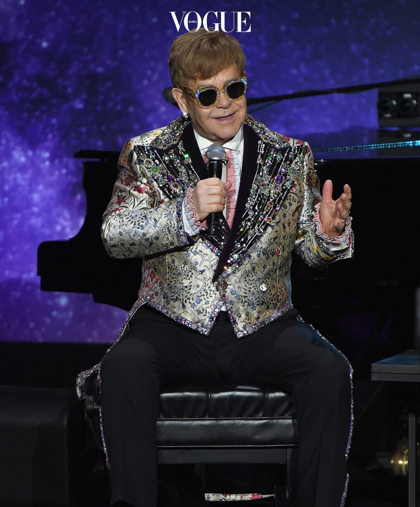 NEW YORK, NY - JANUARY 24:  Elton John speaks during the Elton John Special Announcement at Gotham Hall on January 24, 2018 in New York City.  (Photo by Dimitrios Kambouris/Getty Images)